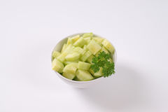 Bowl of sliced cucumber Royalty Free Stock Image