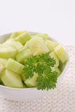 Bowl of sliced cucumber Stock Images