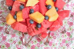 Bowl of sliced watermelon, blueberries, and cantaloupe Royalty Free Stock Photos