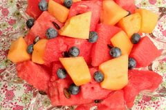 Bowl of sliced watermelon, blueberries, and cantaloupe. A bowl filled with chunks of cantaloupe and fresh watermelon with some blueberries Stock Photography