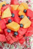 Bowl of sliced watermelon, blueberries, and cantaloupe. A bowl filled with chunks of cantaloupe and fresh watermelon with some blueberries Stock Photo