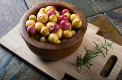 Bowl of small organic potatoes. Royalty Free Stock Image