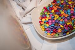Bowl full of smarties royalty free stock image