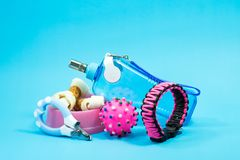 Bowl with snacks, collars, toy, nail scissors Royalty Free Stock Photography