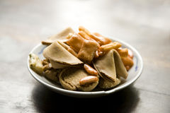 Bowl of Snacks with Fortune Cookies Royalty Free Stock Photos