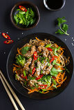 Bowl of soba noodles with beef and vegetables. Asian food. Royalty Free Stock Photo
