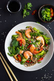 Bowl of soba noodles with beef and vegetables. Asian food. Stock Photography