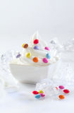 Bowl of softserve icecream and candy Stock Images