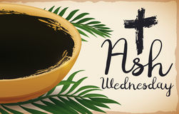 Bowl and Some Palm Leaves for Ash Wednesday, Vector Illustration Royalty Free Stock Photos
