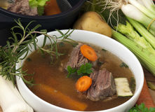 Bowl Soup with beef and ingredient Royalty Free Stock Photos