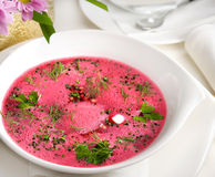 Bowl of soup with beets Royalty Free Stock Photos