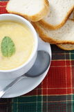 Bowl of soup and bread Royalty Free Stock Photography