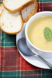 Bowl of soup and bread Royalty Free Stock Photo