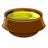 Bowl of soup. Brown bowl with yellow liquid soup Royalty Free Stock Photography