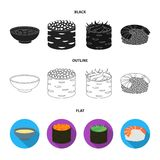 Bowl of soup, caviar, shrimp with rice. Sushi set collection icons in black,flat,outline style vector symbol stock. Illustration Stock Photos