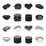 Bowl of soup, caviar, shrimp with rice. Sushi set collection icons in black,monochrome style vector symbol stock. Illustration Stock Photography