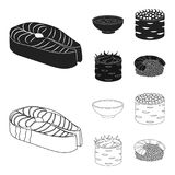 Bowl of soup, caviar, shrimp with rice. Sushi set collection icons in black,outline style vector symbol stock. Illustration Royalty Free Stock Image