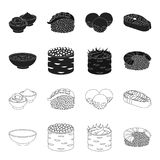 Bowl of soup, caviar, shrimp with rice. Sushi set collection icons in black,outline style vector symbol stock. Illustration Royalty Free Stock Photo