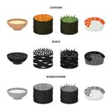 Bowl of soup, caviar, shrimp with rice. Sushi set collection icons in cartoon,black,monochrome style vector symbol stock. Illustration Stock Images