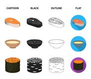 Bowl of soup, caviar, shrimp with rice. Sushi set collection icons in cartoon,black,outline,flat style vector symbol. Stock illustration Royalty Free Stock Image