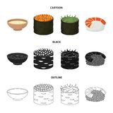 Bowl of soup, caviar, shrimp with rice. Sushi set collection icons in cartoon,black,outline style vector symbol stock. Illustration Royalty Free Stock Photography