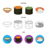 Bowl of soup, caviar, shrimp with rice. Sushi set collection icons in cartoon,outline,flat style vector symbol stock. Illustration Royalty Free Stock Photo