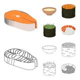Bowl of soup, caviar, shrimp with rice. Sushi set collection icons in cartoon,outline style vector symbol stock. Illustration Stock Photo