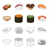 Bowl of soup, caviar, shrimp with rice. Sushi set collection icons in cartoon,outline style vector symbol stock. Illustration Royalty Free Stock Photos