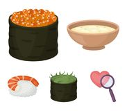 Bowl of soup, caviar, shrimp with rice. Sushi set collection icons in cartoon style vector symbol stock illustration web. Bowl of soup, caviar, shrimp with rice Royalty Free Stock Photo