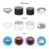 Bowl of soup, caviar, shrimp with rice. Sushi set collection icons in flat,outline,monochrome style vector symbol stock. Illustration Royalty Free Stock Images