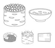 Bowl of soup, caviar, shrimp with rice. Sushi set collection icons in monochrome style vector symbol stock illustration.  Royalty Free Stock Photos