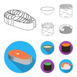 Bowl of soup, caviar, shrimp with rice. Sushi set collection icons in outline,flat style vector symbol stock. Illustration Royalty Free Stock Photo