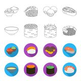 Bowl of soup, caviar, shrimp with rice. Sushi set collection icons in outline,flat style vector symbol stock. Illustration Royalty Free Stock Images