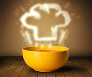 Bowl of soup with chef cook hat steam illustration Stock Images