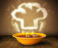 Bowl of soup with chef cook hat steam illustration Stock Photography