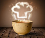 Bowl of soup with chef cook hat steam illustration Stock Photo