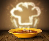 Bowl of soup with chef cook hat steam illustration Royalty Free Stock Image