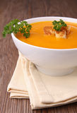Bowl of soup with crouton Royalty Free Stock Photo