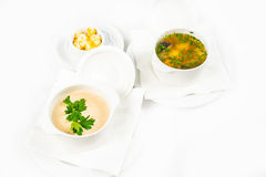 Bowl of soup with croutons Stock Image