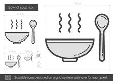 Bowl of soup line icon. Stock Photography