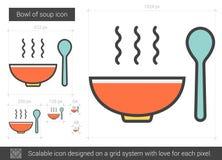 Bowl of soup line icon. Stock Photos