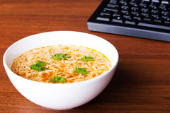 Bowl with soup and pasta. Royalty Free Stock Photography