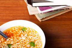 Bowl with soup and pasta. Stock Image