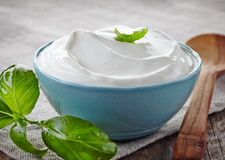 Bowl of sour cream Stock Photos