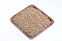 Bowl of soybeans isolated on white background Stock Photos