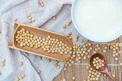 A bowl of soymilk and soybeans royalty free stock photography