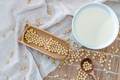 A bowl of soymilk and soybeans royalty free stock images