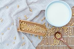 A bowl of soymilk and soybeans royalty free stock photos