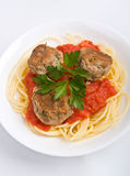 Bowl of spaghetti with meatballs Royalty Free Stock Photography