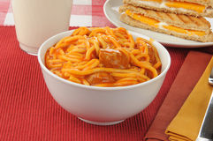 Bowl of spaghetti and meatballs Stock Images